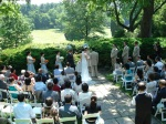Ceremony at the formal gardens at Glenview Mansion