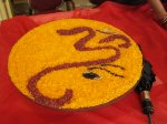 Symbol of the ganesha done in rice
