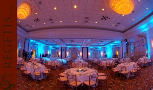 Fairview Park Marriott bathed in blue lighting for reception