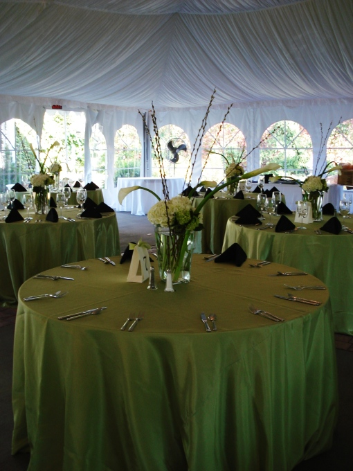 Centerpieces of calla lilies, hydrangea and pussy willow by Tierra Flora Design. Check out the avocado green tablecloth paired with black napkins.