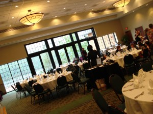 Greenridge Ballroom seats up to 250 with its picturesque terrace overlooking Lake Habeeb