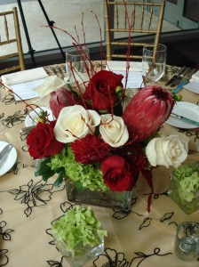 red modern floral centerpiece