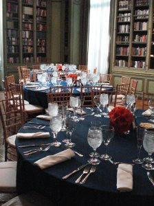 Meridian House library navy blue and orange wedding dinner reception
