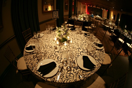 Clarendon Ballroom wedding reception black & white