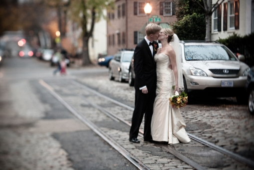Georgetown DC wedding bride and groom