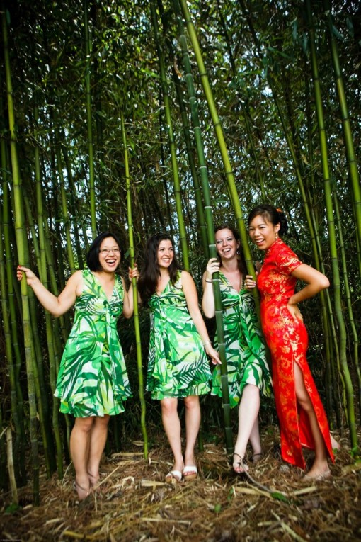 Chinese backyard wedding green bridesmaids dresses bamboo