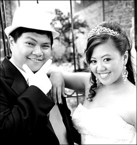 hollywood glam wedding bride and groom