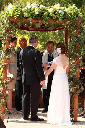 Meadowlark Botanical Gardens Jewish Wedding in the fall under chuppah