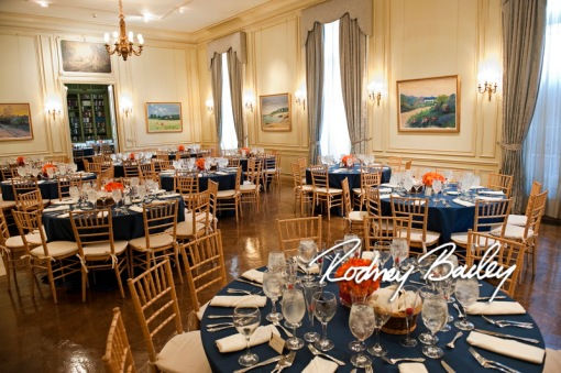 Meridian House wedding reception navy blue & orange