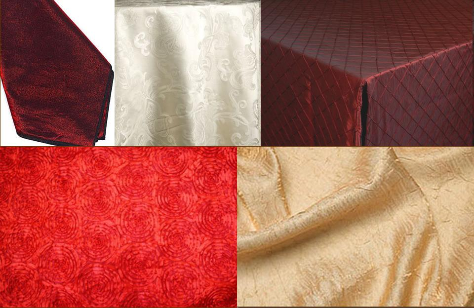 Clockwise from top left Dark Red Satin Napkins hotel 39s Ivory Damask