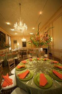 apple green and orange DC wedding Meridian House
