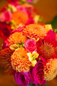 orange fuchsia wedding bouquets dahlias Helen Olivia